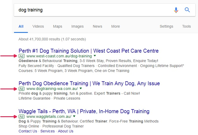 Example of what Google Adwords look like on Google