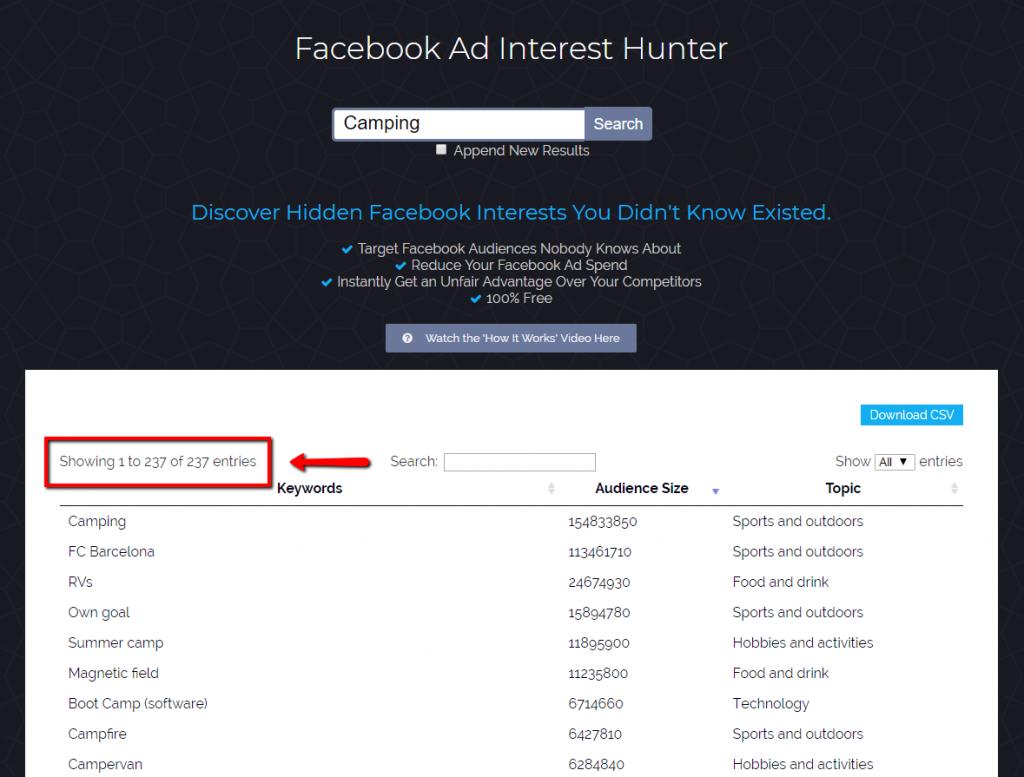Facebook ad interest hunter example