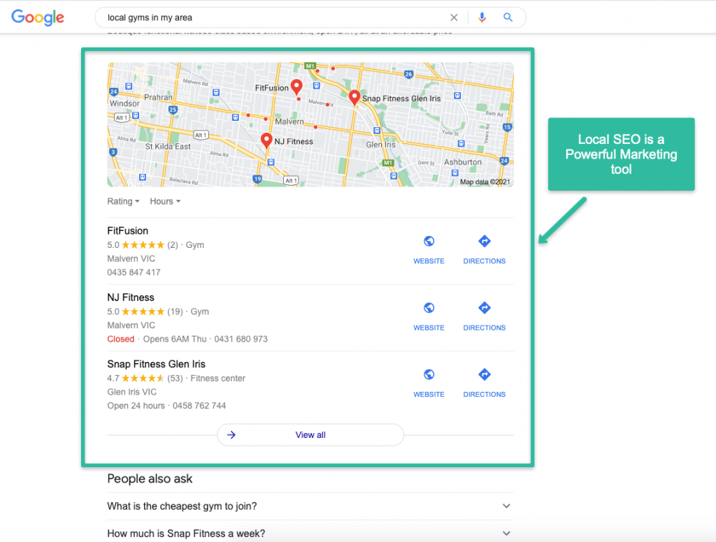 local seo for gyms on google